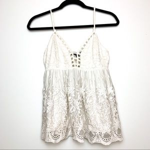 Forever 21 Lace Cotton Cut Out Embroidered Top